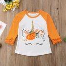 NEW Unicorn Pumpkin Girls Ruffle 3/4 Sleeve White Shirt 2T 3T 4T 5T