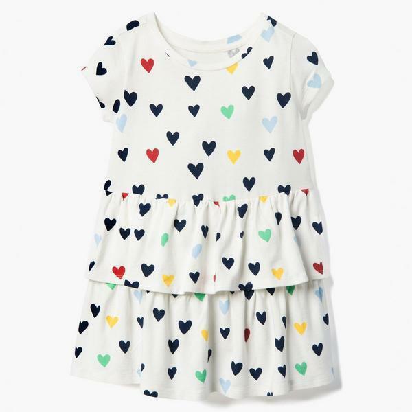 NWT Gymboree All Smiles Heart Print Girls White Ruffle Dress 2T 3T Valenitnes