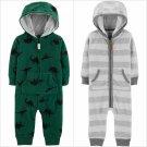 NWT Carters Baby Boys Dinosaur Gray Striped Hooded Fleece Romper Jumpsuit