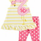NWT Nannette Baby Girls Flamingo Yellow Striped Tunic Ruffle Leggings Outfit Set