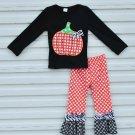 NEW Boutique Girls Pumpkin Shirt Ruffle Leggings Outfit Set 3T 4T 5-6