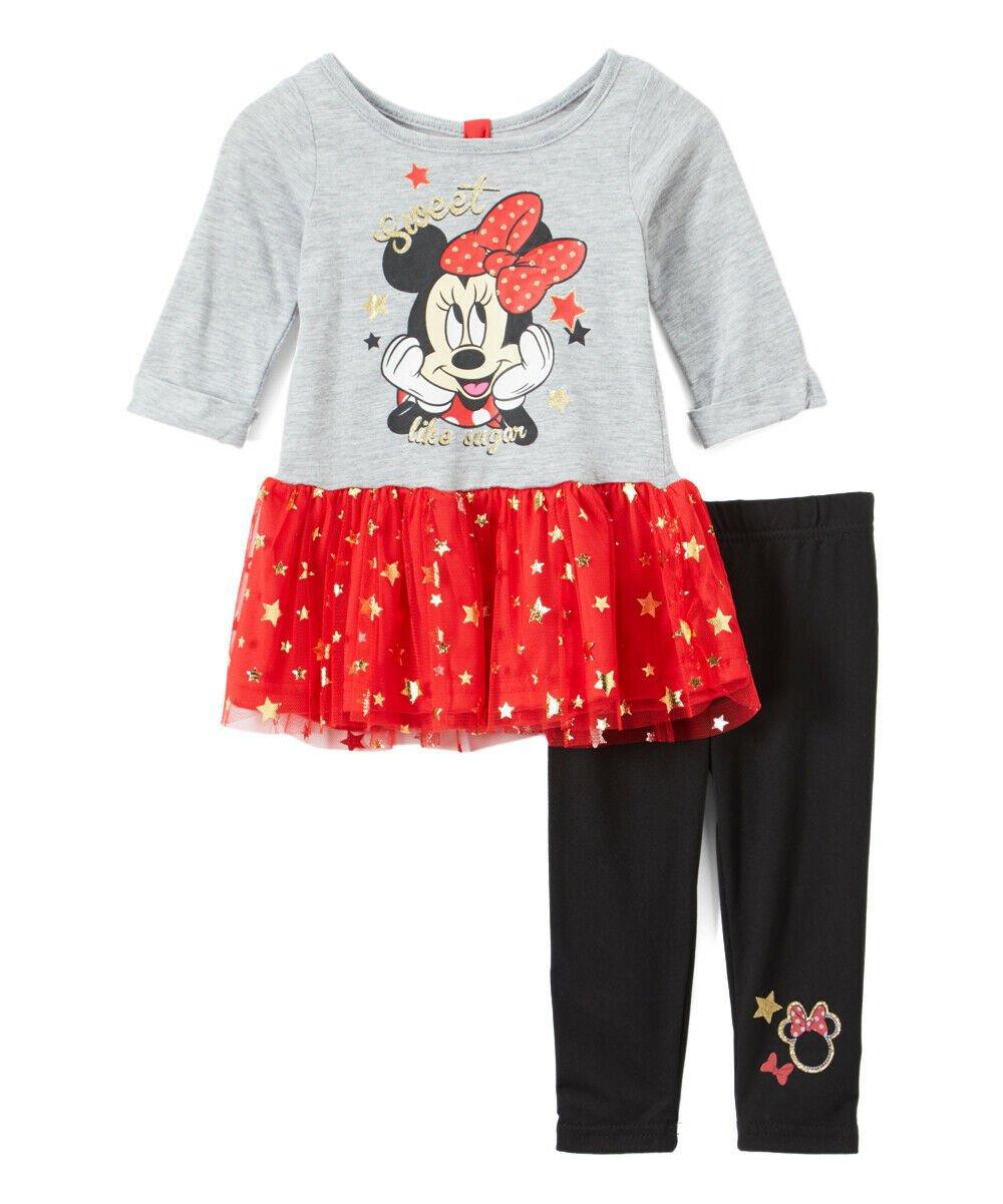 NWT Disney Minnie Mouse Baby Girls Tutu Tunic & Leggings Outfit Set