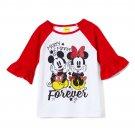NEW Minnie & Mickey Mouse Ruffle Sleeve Girls Shirt 5 6