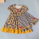 NEW Boutique Girls Floral Sunflower Dress Ruffle Shorts Outfit 3-4 5-6 6-7 7-8