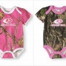 NEW Mossy Oak Baby Girls Pink Green Camouflage Short Sleeve Bodysuit Creeper