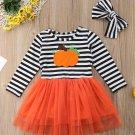 NEW Girls Pumpkin Long Sleeve Striped Tutu Dress 2T 3T 4T 5T 6
