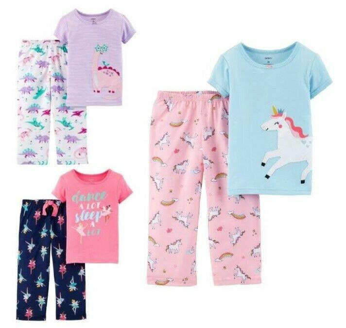 NWT Carters Unicorn Dinosaur Ballerina Short Sleeve Pajamas Set 2T 3T 4T 5T