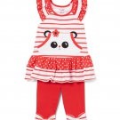 NWT Nannette Panda Red Striped Tunic & Leggings Girls Outfit Set 2T 3T 4T 5 6