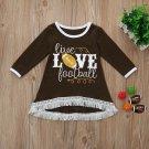 NWT Live Love Football Baby Girls Brown Long Sleeve Fringe Dress