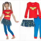 NWT DC Comics Wonder Woman Girls Tutu Pajamas Set 2T 3T 4T 5T Halloween