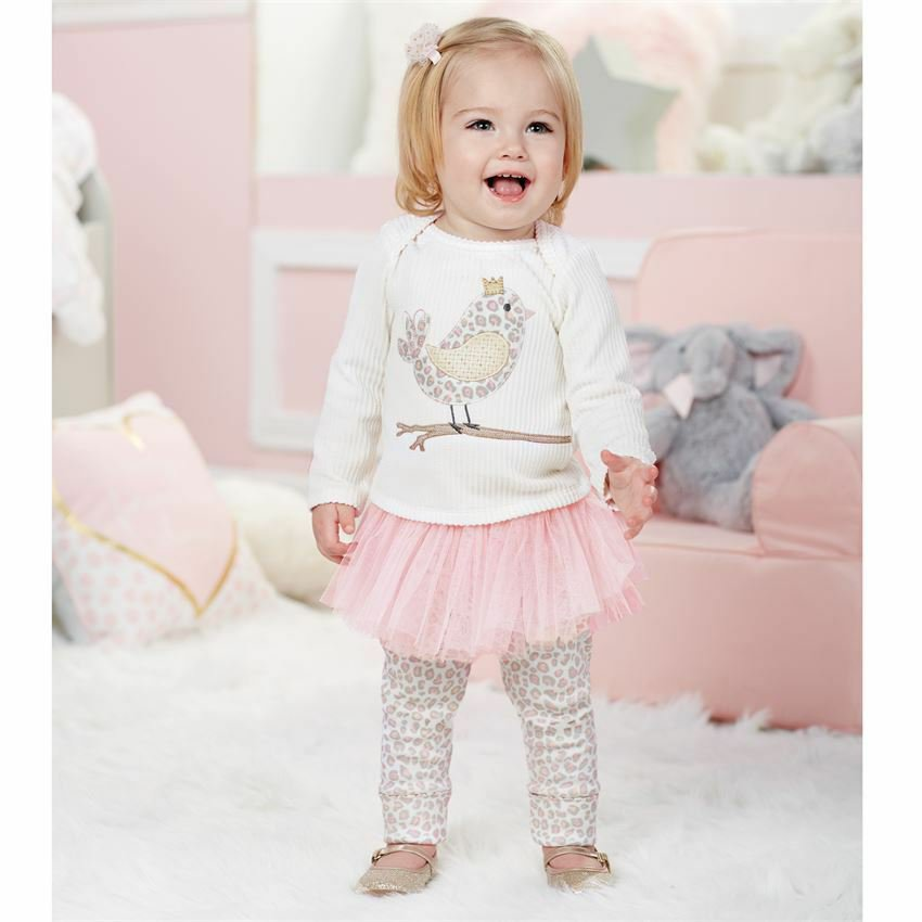 NWT Mud Pie Baby Girls Spotted Chick Tunic Tutu Leggings Outfit Set