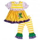 NEW Boutique Dragon Back to School Girls Ruffle Tunic Dress Leggings Outfit Set
