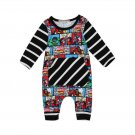 NWT Avengers Comic Strip Baby Boys Black Long Sleeve Romper Jumpsuit Outfit