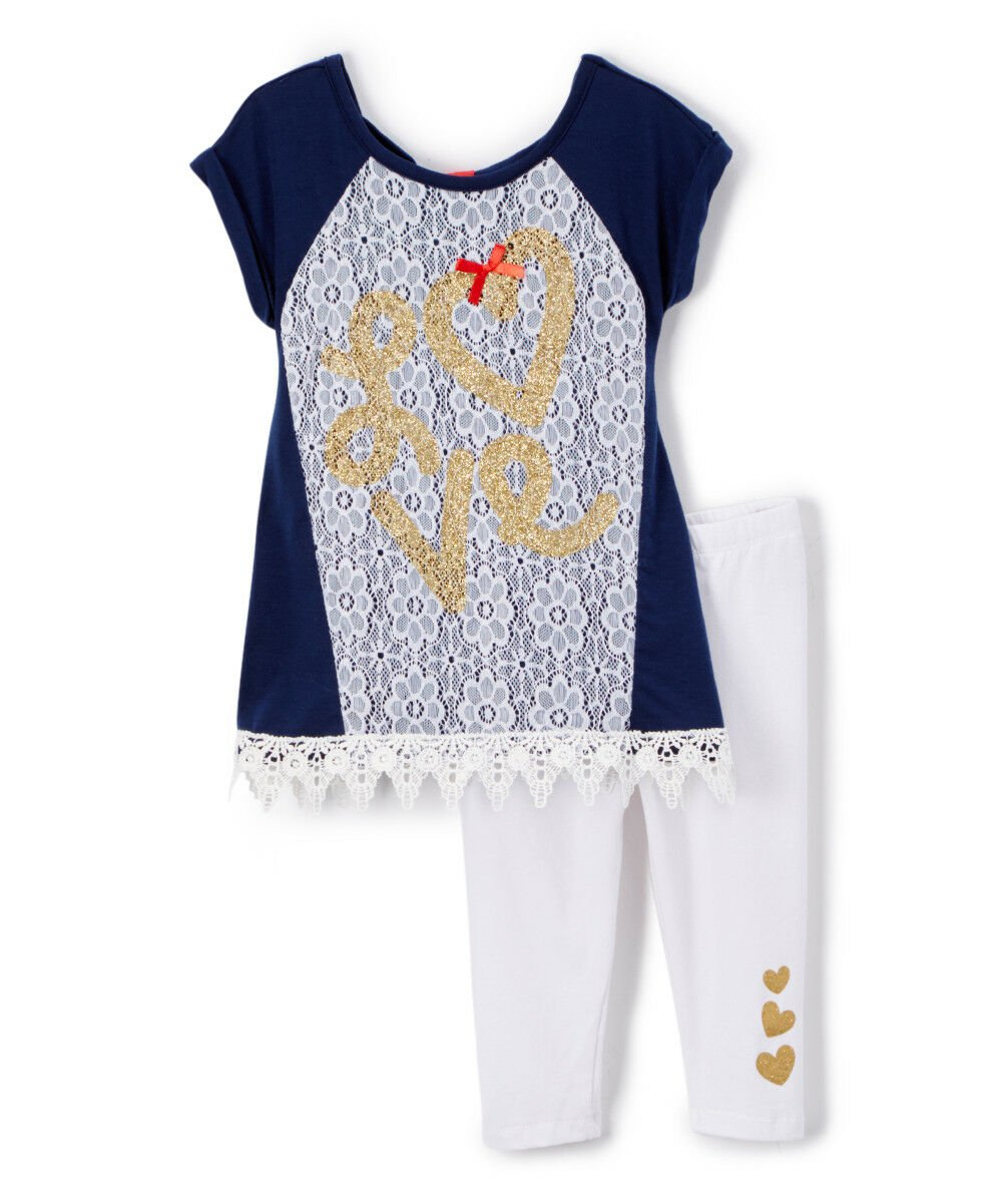 NWT Nannette Baby Girls Gold Love Lace Blue Tunic Leggings Outfit Valentines Day
