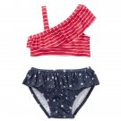NWT Gymboree Americana Baby Girls Stars & Stripes Ruffle Shimmer Bikini Swimsuit