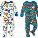 NWT The Childrens Place Boys Dinosaur Gray Footed Stretchie Pajamas Sleeper
