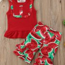 NWT Watermelon Girls Red Sleeveles Shirt Ruffle Bike Shorts Outft 2T 3T 4T 5T