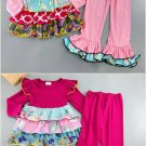 NEW Boutique Girls Pink Ruffle Tunic Dress & Leggings Outfit 5-6 6-7 7-8