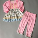 NEW Boutique Girls Pink Bicycle Long Sleeve Ruffle Tunic Dress Leggings Outfit