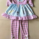 NEW Boutique Girls Pony Horse Pink Ruffle Tunic Dress & Leggings Outfit Set