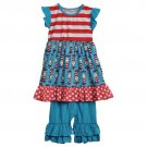 NEW Boutique Dr Seuss Cat in the Hat Girls Dress & Ruffle Shorts Outfit Set
