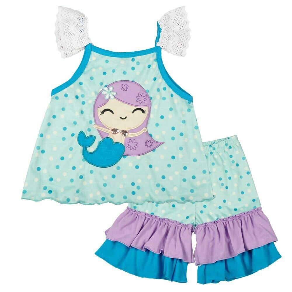 NEW Boutique Girls Mermaid Sleeveless Tunic Ruffle Shorts Outfit Set