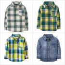 NWT Crazy 8 Plaid Boys Long Sleeve Button Down Shirt 3T 4T 5T
