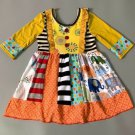 NEW Girls Boutique Multi Print Elephant Long Sleeve Ruffle Dress 5-6 6-7 7-8