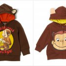 NWT Curious George Toddler Boys Hooded Hoodie Sweater 2T 3T 4T