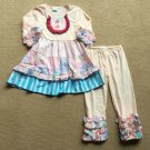 NEW Boutique Girls Pink Floral Ruffle Tunic Dress & Leggings Outfit Set