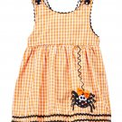 NEW Lil Cactus Spider Baby Girls Halloween Orange Gingham A-Line Dress 3-6 M
