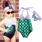 NWT Girls Mermaid Shimmer Green Swimsuit Bathing Suit Headband Outfit Set
