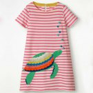 NEW Turtle Girls Pink Striped Short Sleeve Shift Dress 3T 4T 5T 6