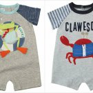NWT Mud Pie Sail Away Clawesome Crab Zipper Pool Frog Baby Boys Romper Shortall