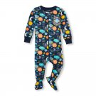 NWT The Childrens Place Boys Space Blue Footed Stretchie Pajamas Sleeper