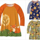 NWT Sunshine Swing Girls Fox Woodland Animals Fall Long Sleeve Raglan Dress