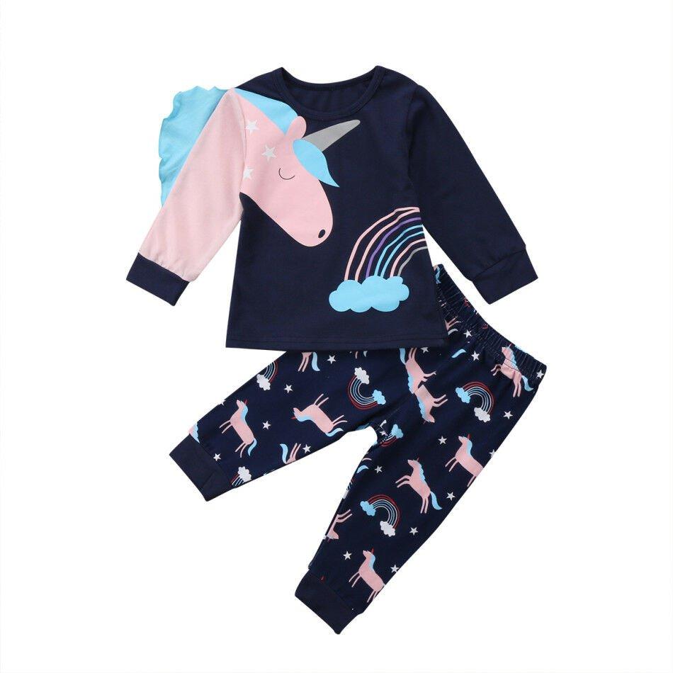 NEW Unicorn Girls Blue Long Sleeve Shirt & Pants Outfit Set 2T 3T 4T 5T