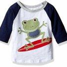 NWT Mud Pie Marco Polo Surfing Frog Boys Blue Raglan Shirt 2T/3T 4T/5T