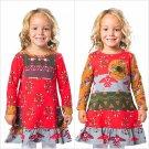NWT Jelly the Pug Girl Long Sleeve Cameron Mai Tribal Persimmon Red Dress 5 6 7