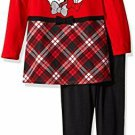 NWT Disney Minnie Mouse Baby Girls Red Plaid Tunic Leggings Outfit Set 12 18 M