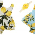 NWT Baby Girls Lemon Blue White Sleeveless Ruffle Romper & Headband Outfit Set