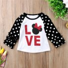 NEW Minnie Mouse Love Girls White Black 3/4 Ruffle Sleeve Shirt Valentines Day