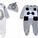 NWT Boutique Baby Boy Lion Footed Sleeper Pajamas Hat Set 0-6 6-12 12-18 18-24 M
