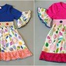 NEW Girls Boutique Floral Short Sleeve Blue Ruffle Dress 5-6 6-7 7-8