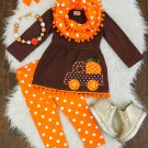 NEW Boutique Girls Pumpkin Truck Tunic Dress Leggings & Scarf Outfit Set