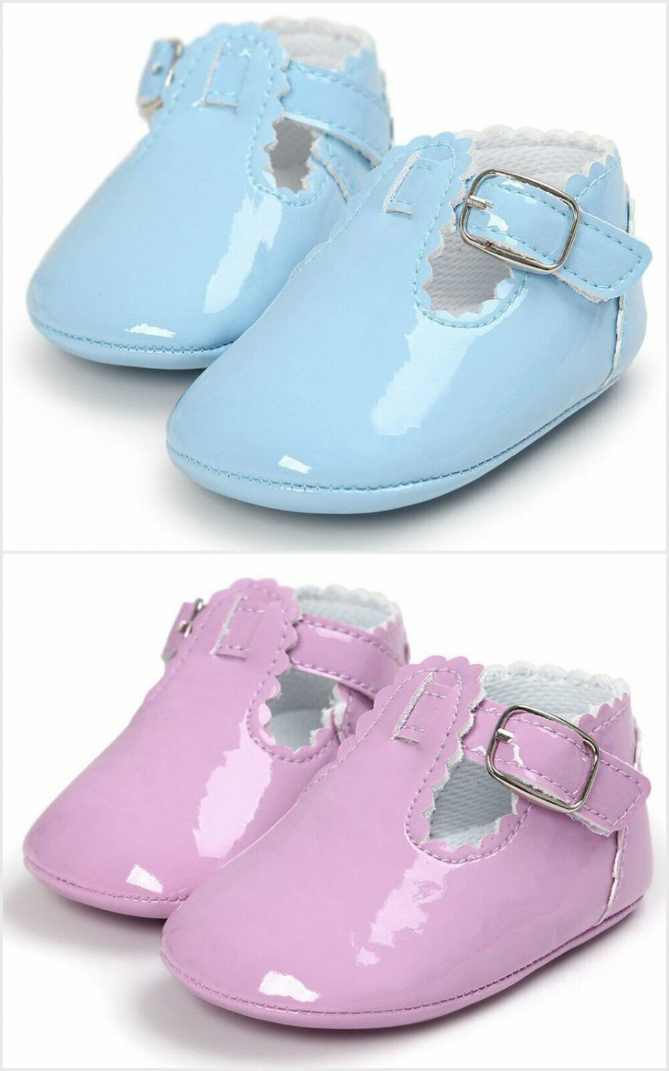 NEW Baby Girl Blue Faux Leather Mary Jane Crib Shoes 0-6 6-12 12-18 M