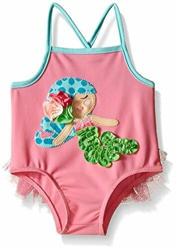 NWT Mud Pie Mermaid Baby Girls Pink Ruffle Swimsuit 0-6 6-9 Months