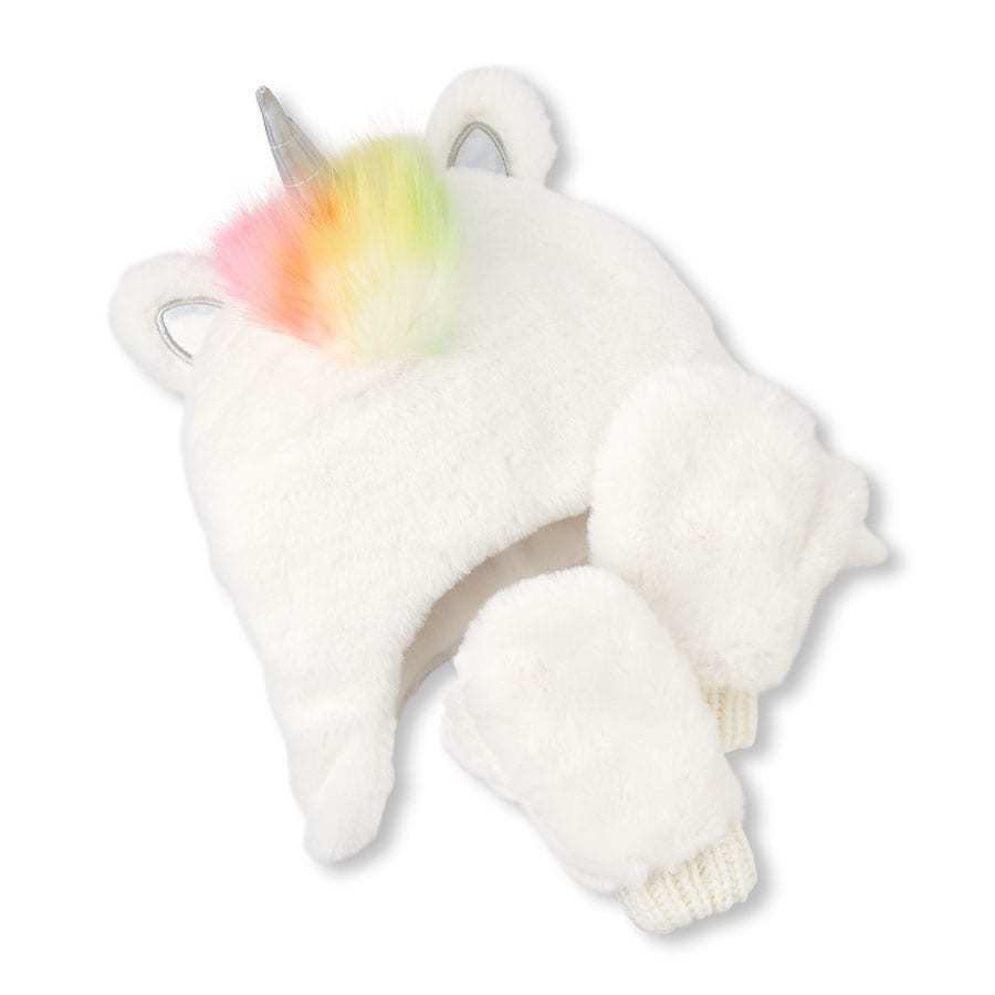 NWT The Childrens Place Girls Rainbow Unicorn Faux Fur Fleece Hat & Mittens Set