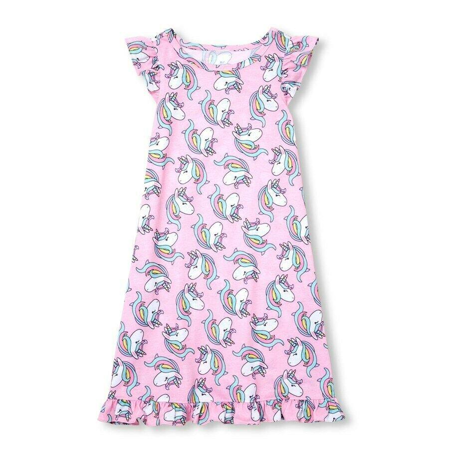 NWT The Childrens Place Girls Pink Unicorn Sleeveless Nightgown Pajamas