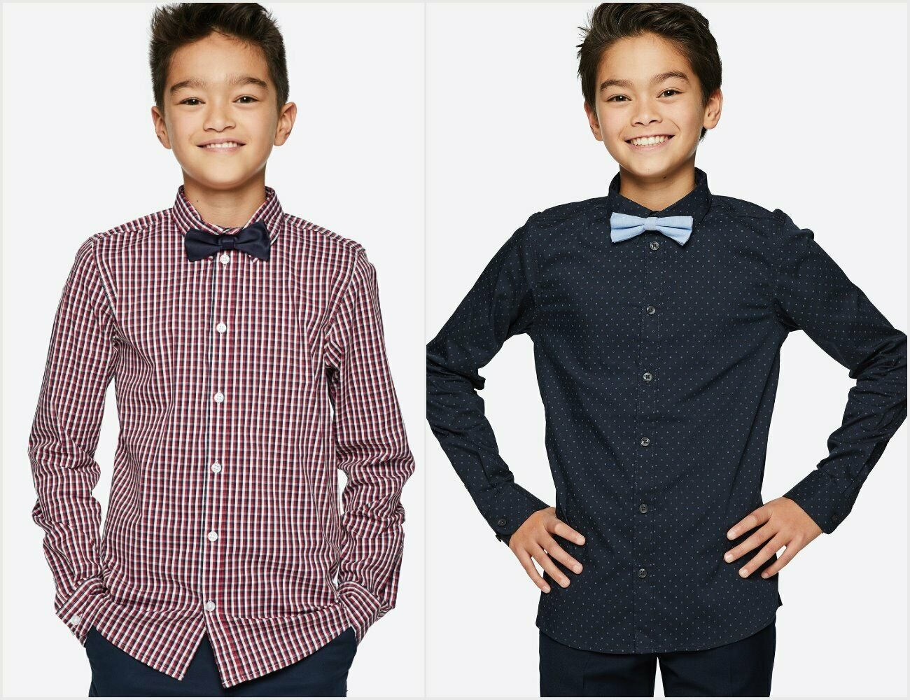 NWT European Cubus Boys Long Sleeve Button Up Shirt with Bow Tie Blue Red